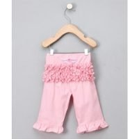 Rufflebutts Velour Pink Velour Ruffle Trousers