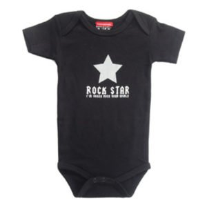 Babygags Rock Star Slogan Black Onesie Vest