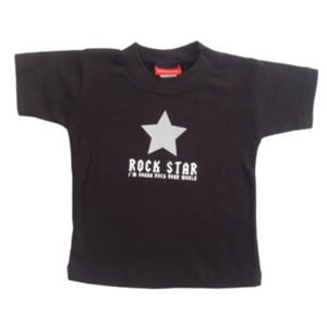 Babygags Rock Star Slogan Black T Shirt