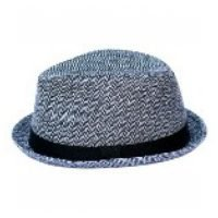 Born To Love Clothing Grey Herringbone Fedora Hat