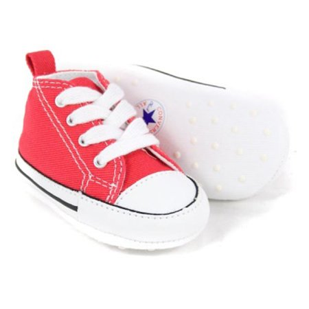 986377c3d9bef2 Converse Baby Canvas Crib Shoes red all star prewalker shoes
