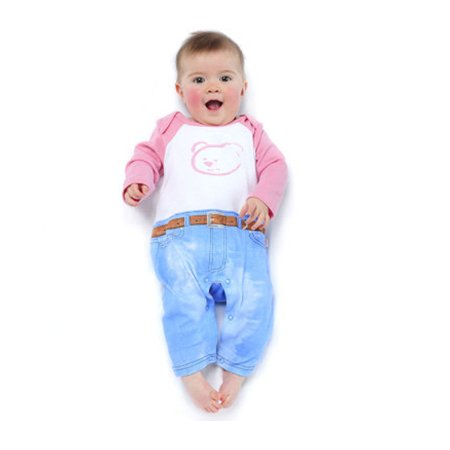 Dijjie Pink Funky Bear Playsuit