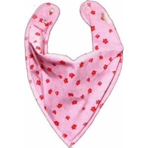 Bandana Bib Pink With Red Flowers