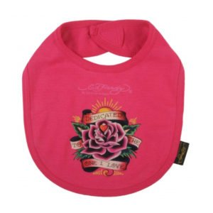 Ed Hardy Pink Dedicated Flower Tattoo Design Bib