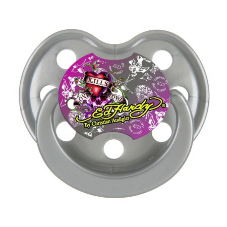 Ed Hardy Silver Live Love Life Pacifier