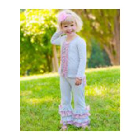 Rufflebutts Grey/Pink Ruffled 2 Piece Set