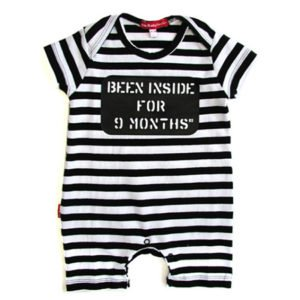 Oh Baby London Been Inside Black & White Stripe SS Playsuit