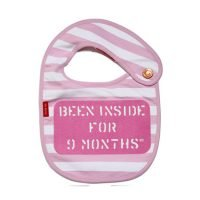 Oh Baby London Been Inside for 9 Months Pink Bib