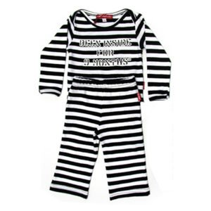 Oh Baby London Been Inside Blk Stripe T Shirt And Trouser Set
