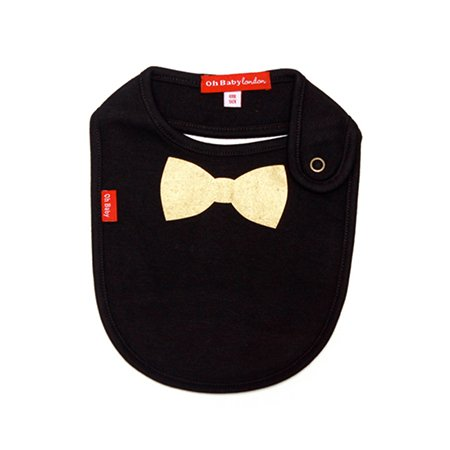 Oh Baby London Gold Bow Tie Black Bib