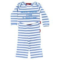 Oh Baby London Been Inside Blue Stripe T-Shirt & Trouser Set