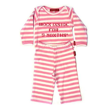 Oh Baby London Been Inside Pink Stripe T-Shirt & Trouser Set