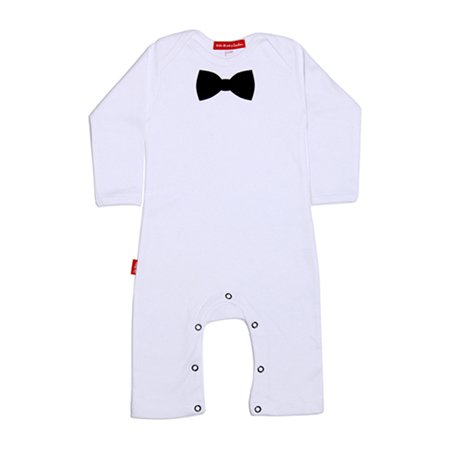 Oh Baby London Black Bow Tie White Playsuit