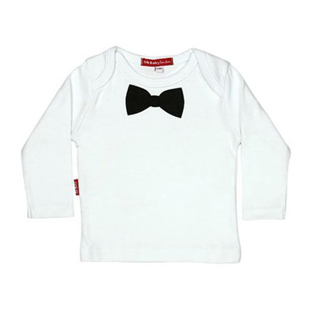 Oh baby London Black Bow Tie White Top