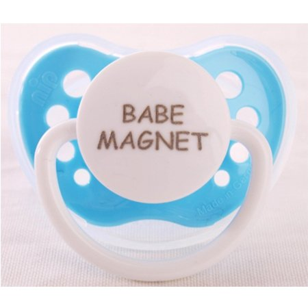 "Personalized Pacifiers ""Babe Magnet"" Blue Dummy"