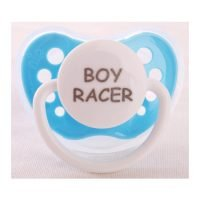 "Personalized Pacifiers ""Boy Racer"" Light Blue Dummy"