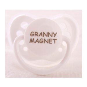 """Personalized Pacifiers """"Granny Magnet"""" White Dummy"""
