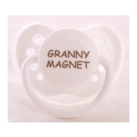 "Personalized Pacifiers ""Granny Magnet"" White Dummy"