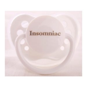 "Personalized Pacifiers ""Insomniac"" White Dummy"