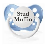 "Personalized Pacifiers ""Stud Muffin"" Light Blue Dummy"