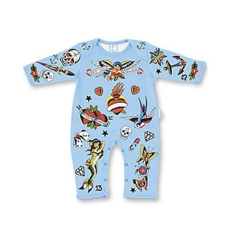 Six Bunnies Tattoo Print Baby Gro In Blue