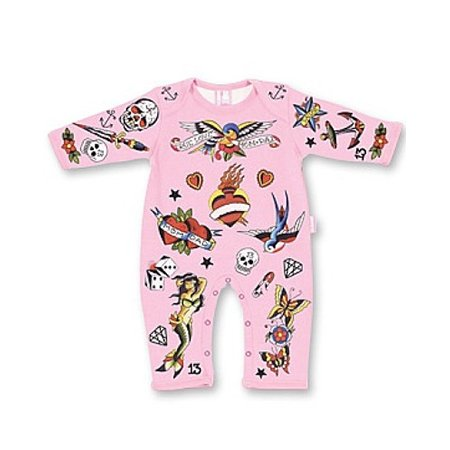 Six Bunnies Tattoo Print Baby Gro In Pink
