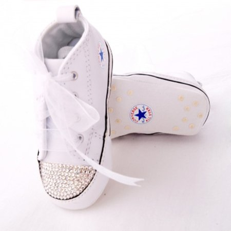 Diamante Swarovski Crystal Toe Converse Crib Shoe white 94fb1bf22