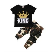 Fashion-Toddler-Kids-Crown-Clothing-Set-Baby-Boys-Tops-T-shirt-Camo-Pants-Outfits-Clothes